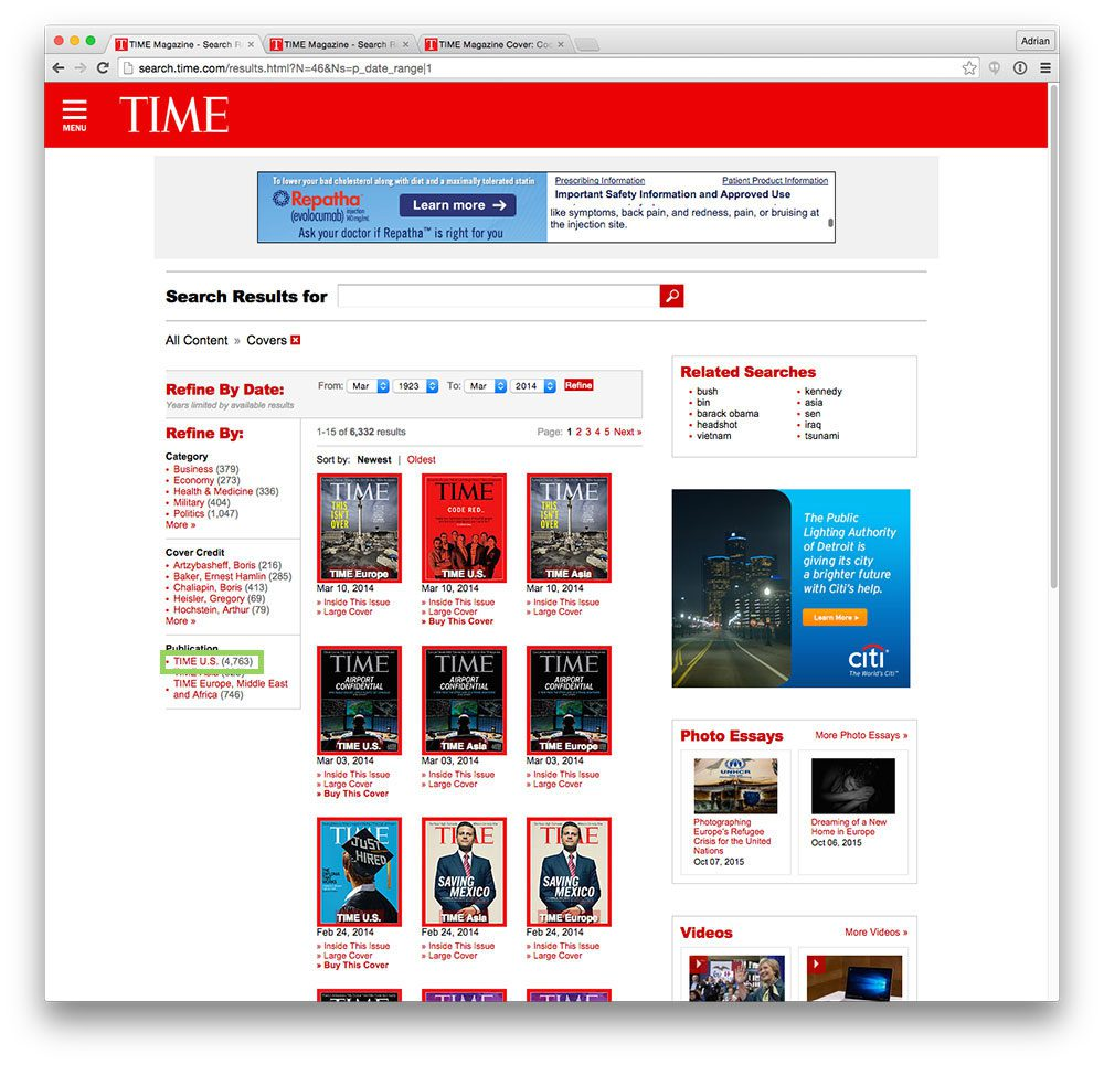 "Figure 1: The first step in our scraper is to access the ""TIME U.S."" page."