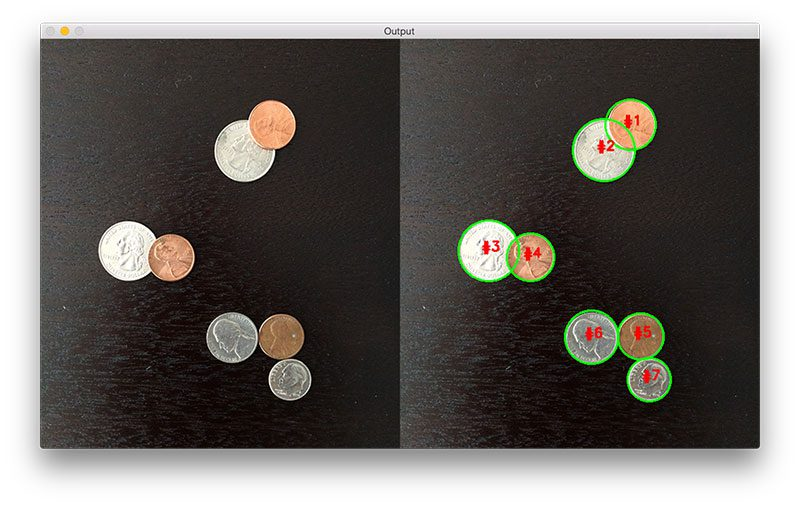 Figure 9: The watershed algorithm is able to segment the overlapping coins from each other.