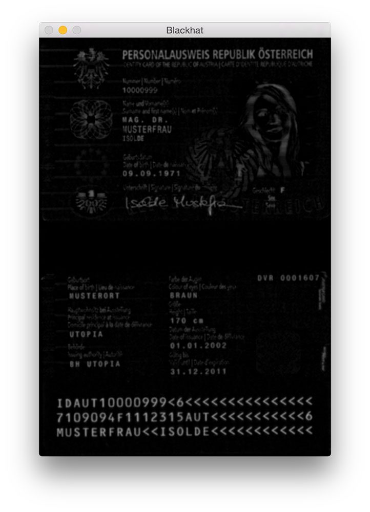 Figure 2: Applying the blackhat morphological operator reveals the black MRZ text against the light passport background.