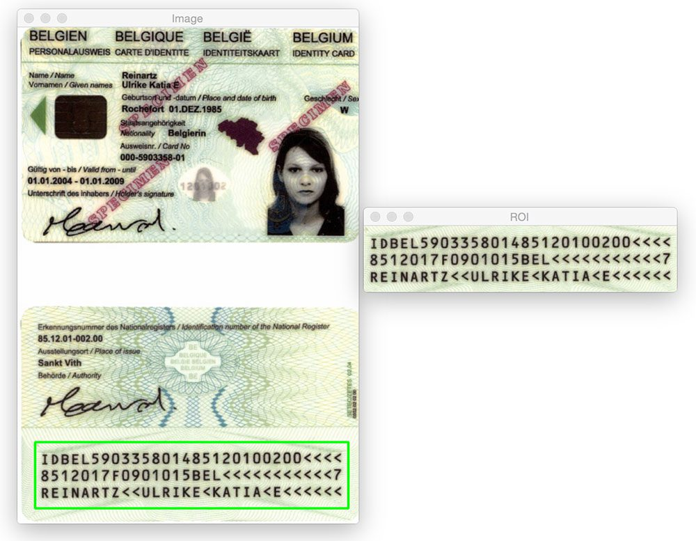 Figure 8: Applying MRZ detection to a scanned passport.