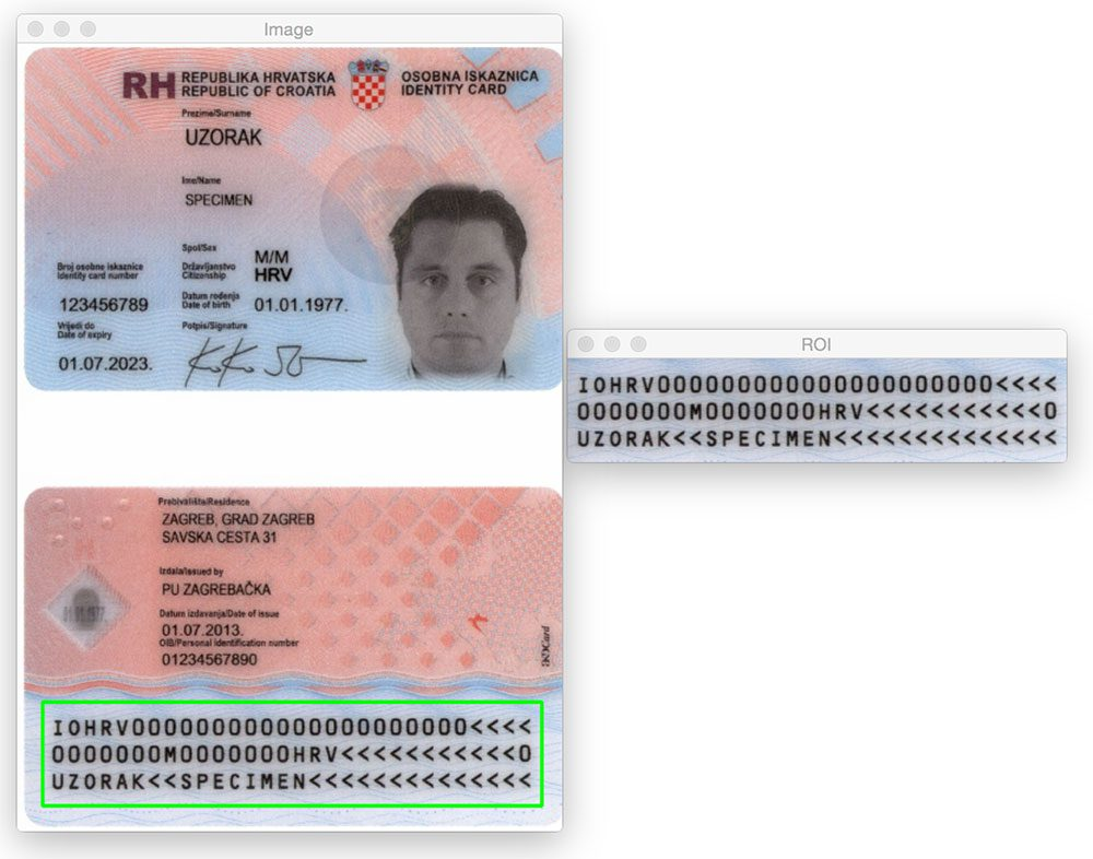 Figure 10: Again, we are able to detect the MRZ in the passport scan using basic image processing techniques.