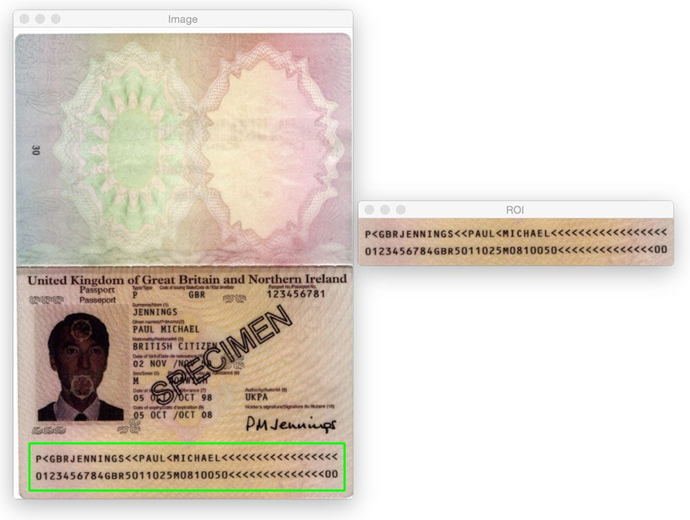 Figure 11: Detecting the MRZ in a Type 3 passport image using Python and OpenCV.