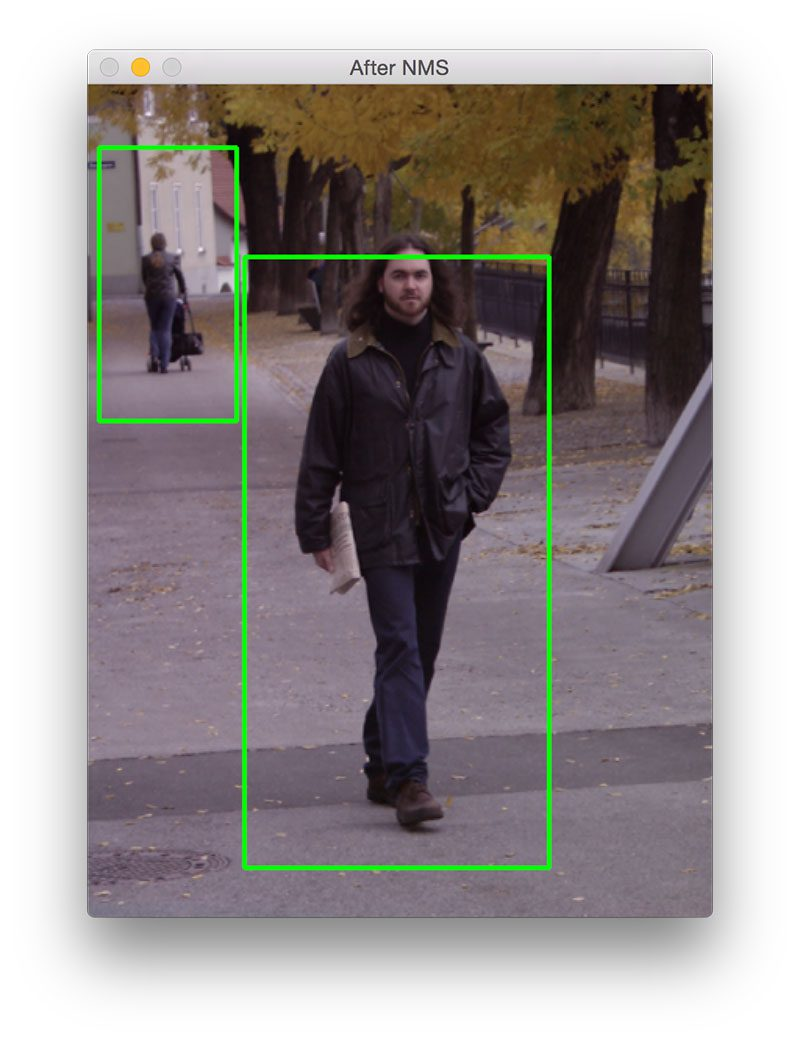 Figure 2: Detecting a single person in the foreground and another person in the background.