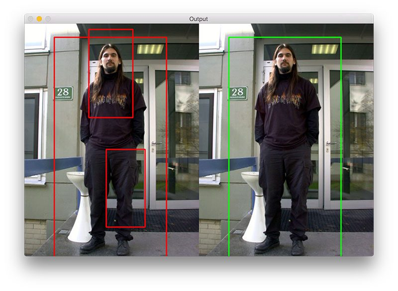 Figure 3: (Left) Multiple bounding boxes are falsely detected for the person in the image. (Right) Apply non-maxima suppression allows us to suppress overlapping bounding boxes, leaving us with the correct final detection.