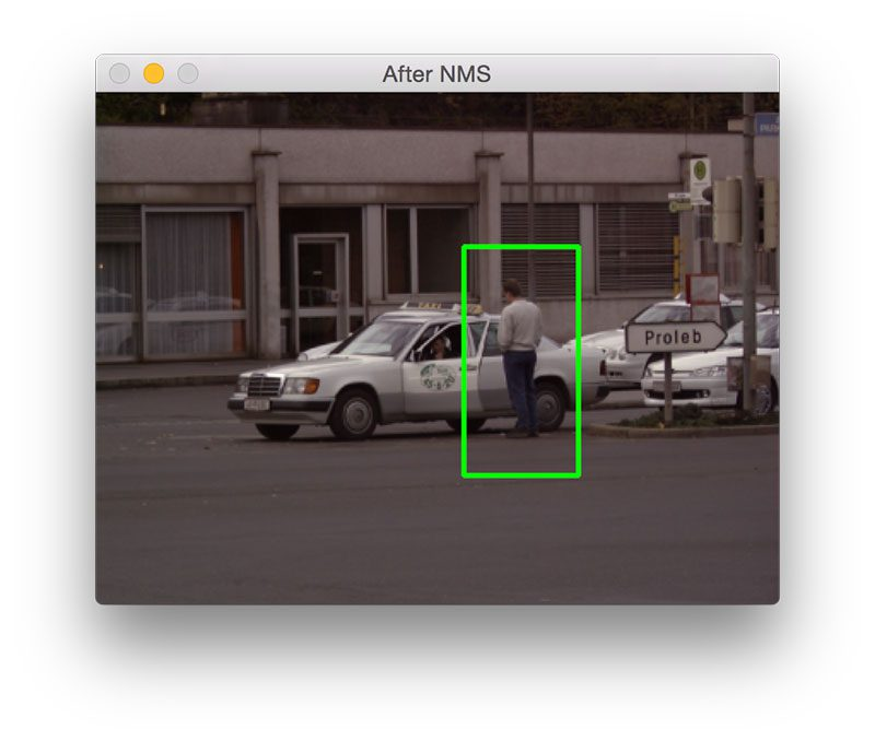 Figure 1: The first result of our pedestrian detection script.