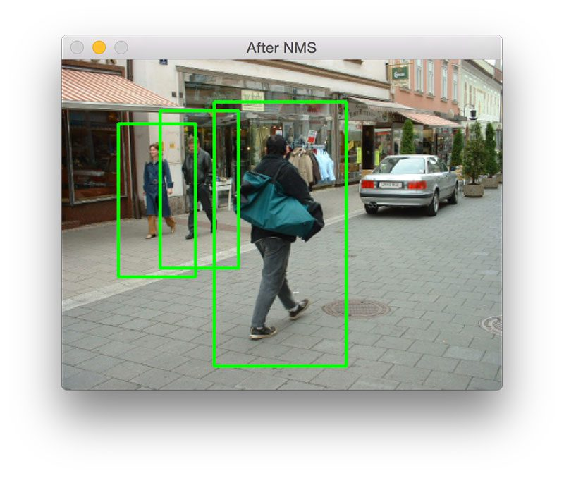 Figure 7: Detecting pedestrians outdoors, walking along the street.