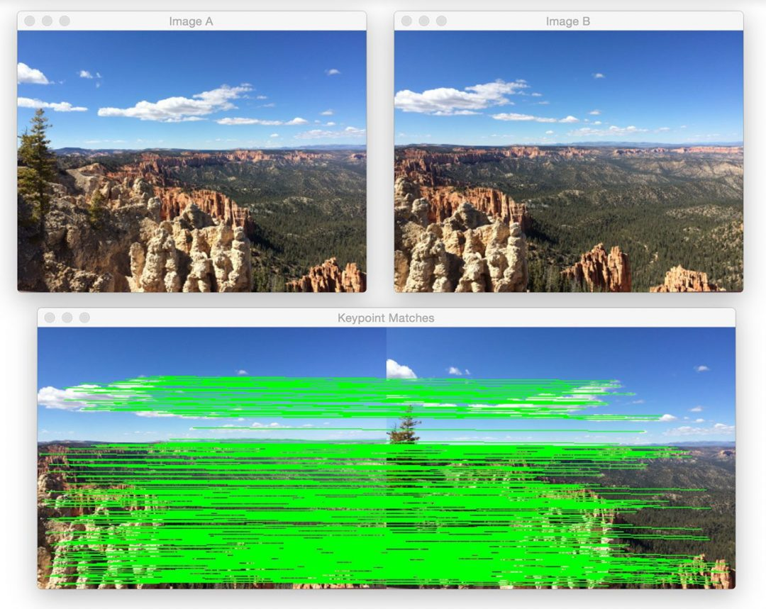Figure 1: (Top) The two input images from Bryce canyon (in left-to-right order). (Bottom) The matched keypoint correspondences between the two images.