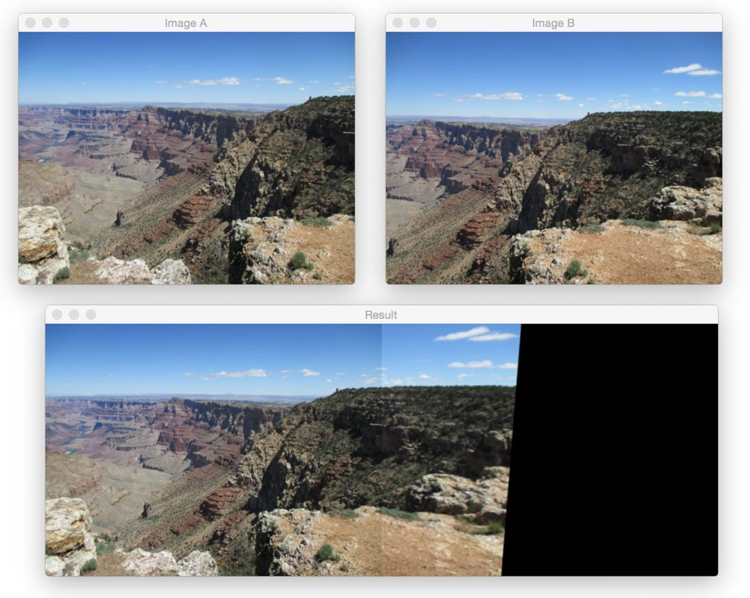 Figure 4: Applying image stitching and panorama construction using OpenCV.