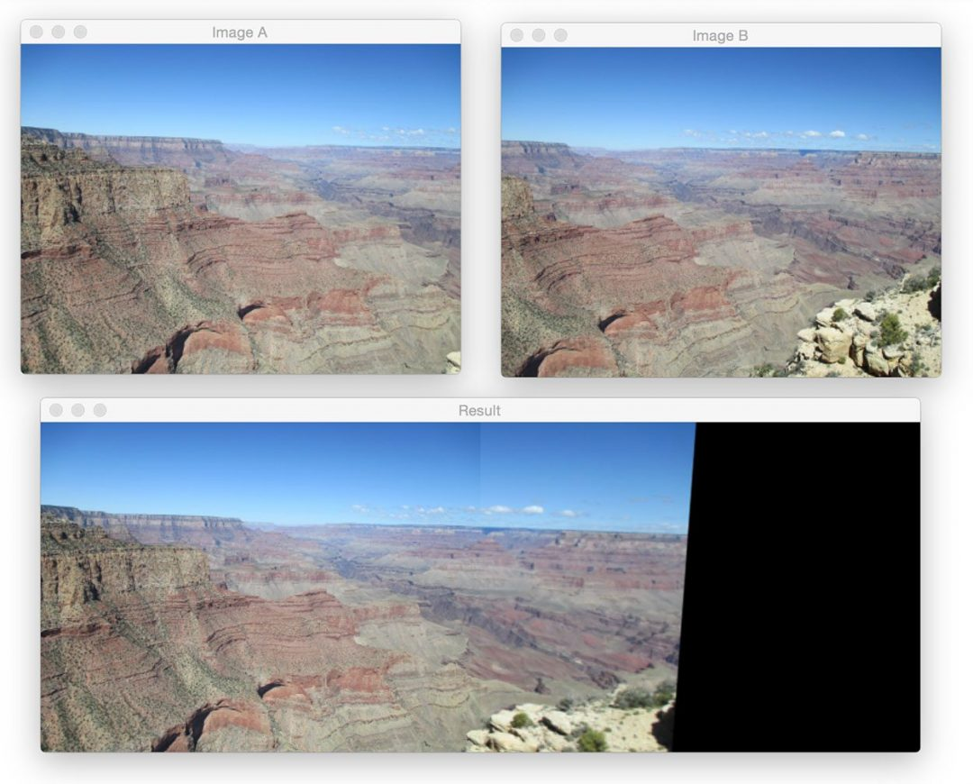 Figure 5: Using image stitching to build a panorama using OpenCV and Python.