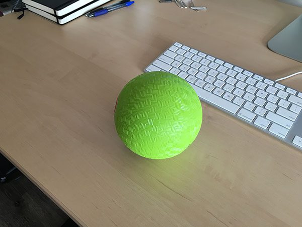 Figure 1: An example of the green ball we are going to detect in video streams.