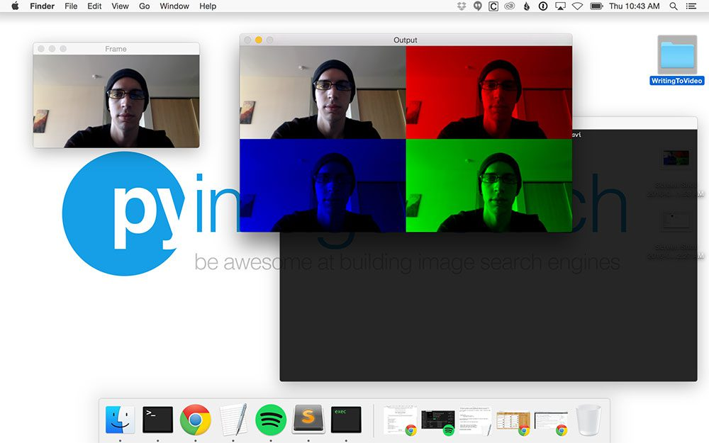 Figure 2: Reading frames from video stream, modifying them, and writing them to video file with OpenCV.