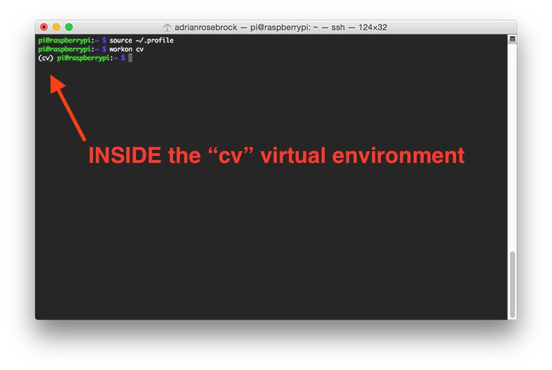 "Figure 2: Make sure you see the ""(cv)"" text on your prompt, indicating that you are in the cv virtual environment."
