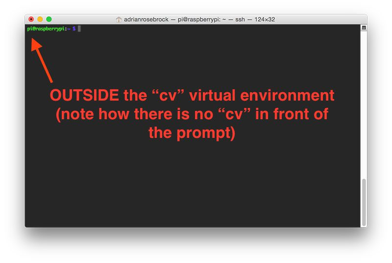 "Figure 3: If you do not see the ""(cv)"" text on your prompt, then you are not in the cv virtual environment and need to run ""source"" and ""workon"" to resolve this issue."