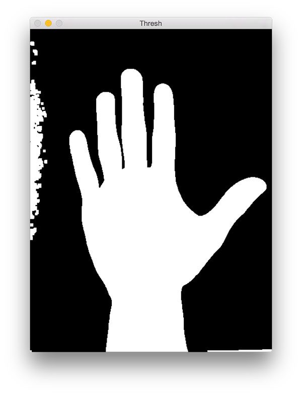 Figure 5: Our image after thresholding. The outlines of the hand is now revealed.