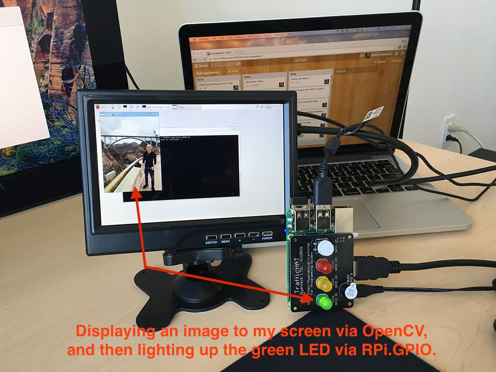 Figure 4: Loading an image to my screen using OpenCV and then lighting up the green LED using GPIO.