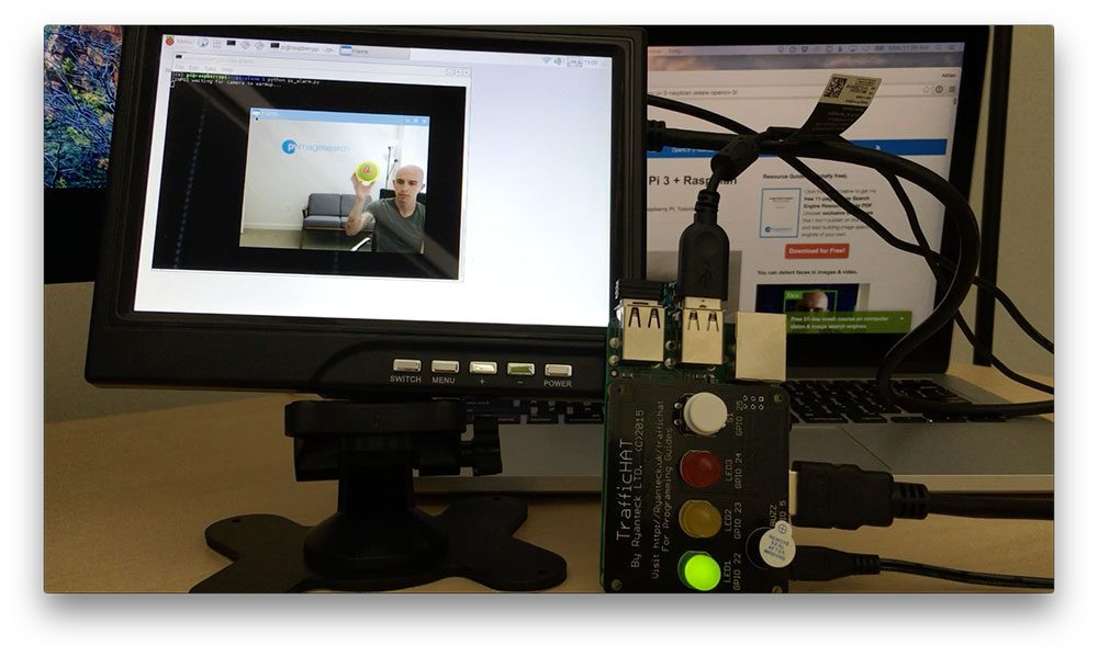 Figure 5: When the green ball is detected, the LED lights up and the buzzer goes off.