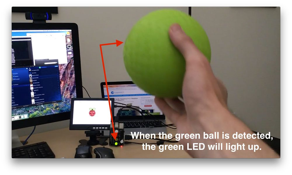 Figure 3: Notice how when the green ball is detected in the video stream, the LED on the TrafficHAT lights up.