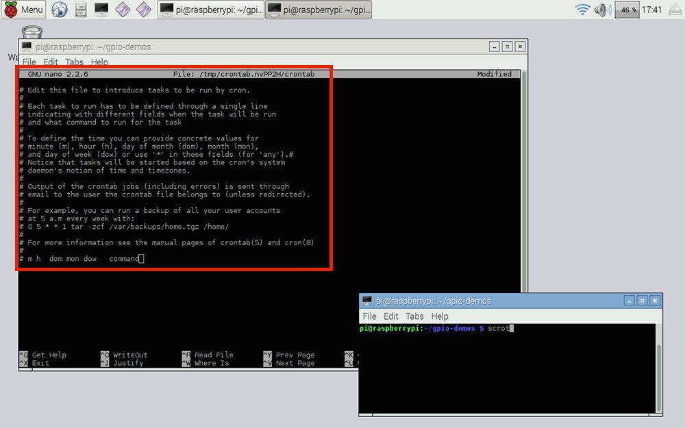 Figure 4: An example of crontab file.