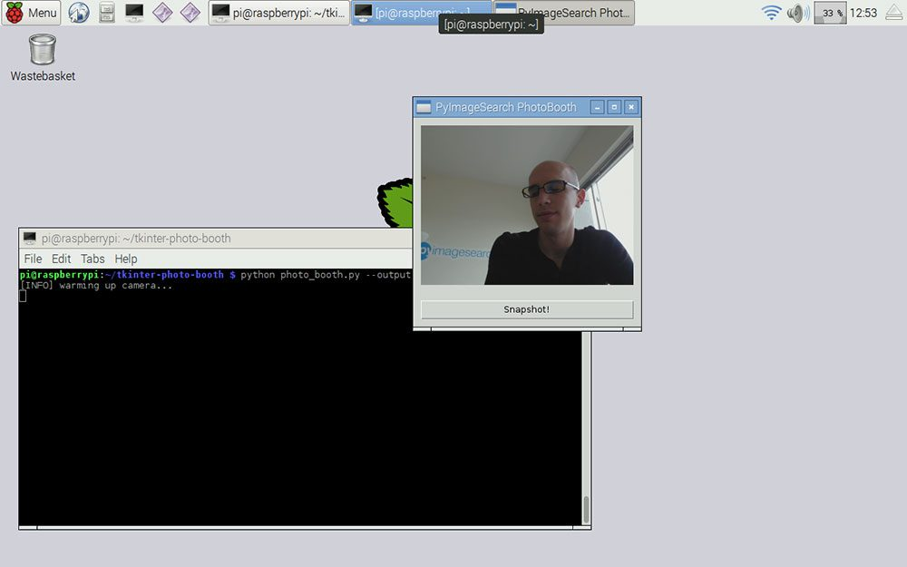 Figure 2: Once our app launches, you should see the live stream of the camera displayed in the Tkinter window.