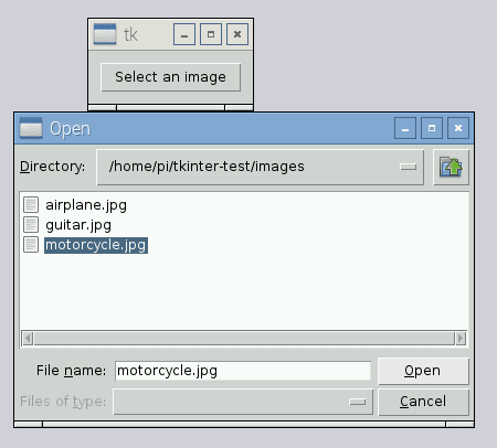 "Figure 5: We can select an image to process by first highlighting the image and then clicking the ""Open"" button."