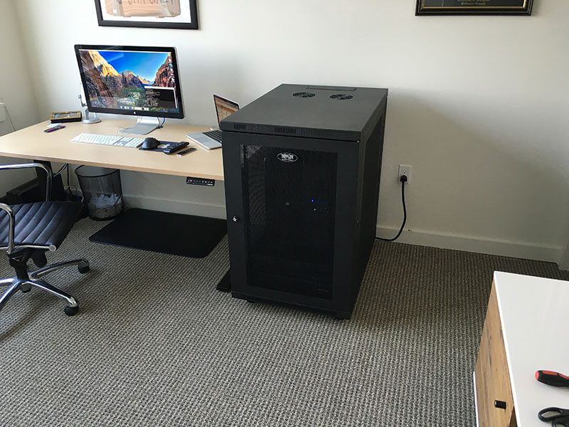 Figure 7: My office, now that the NVIDIA DIGTS DevBox, UPS, and rack have been fully installed.