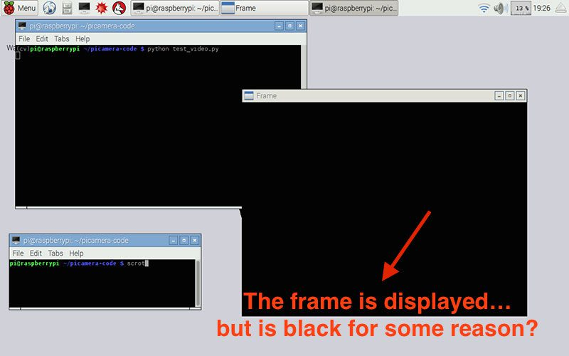 Figure 2: The strange blank/black frame error.