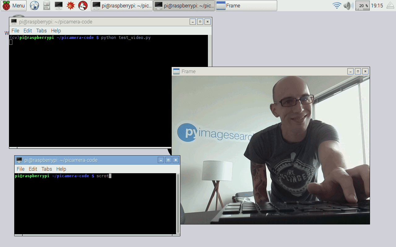 Figure 1: Displaying the Raspberry Pi video stream to our screen.