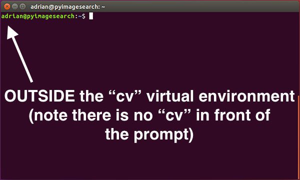 "Figure 2: If you do not see the ""(cv)"" text on your prompt, then you are not in the cv virtual environment and need to run the ""workon"" command to resolve this issue."