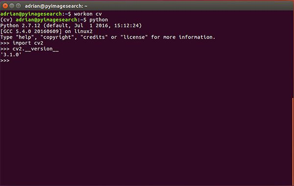 Figure 6: Ensuring that I can successfully import my Python + OpenCV bindings on Ubuntu 16.04.