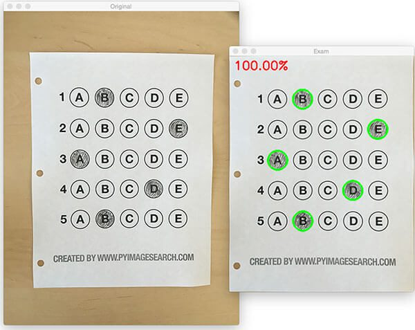 Figure 14: Recognizing bubble sheet exams using computer vision.