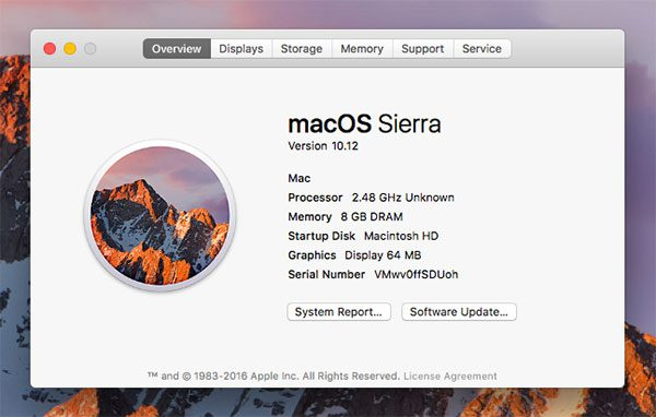 Figure 1: Checking your OS version on Mac. My machine is currently running macOS Sierra (10.12).
