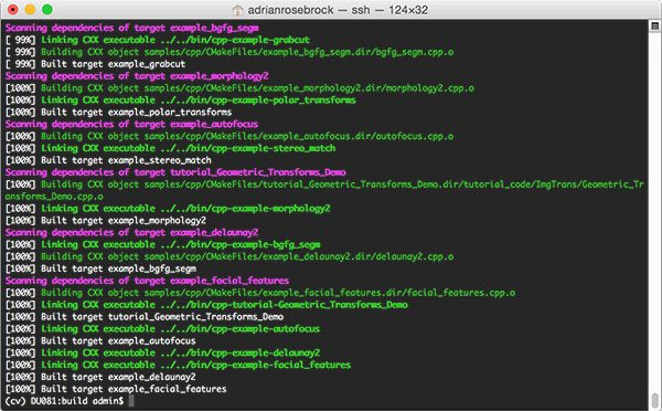 Figure 9: Successfully compiling OpenCV 3 from source with Python 2.7 bindings on macOS.