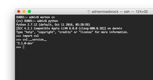 Figure 10: Ensuring that I can successfully import my OpenCV + Python bindings on macOS.