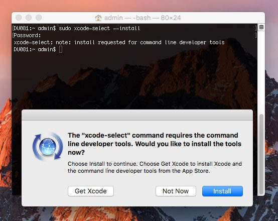 Figure 2: Installing Apple Command Line Tools on macOS.