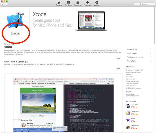 Figure 1: Downloading and installing Xcode on macOS.