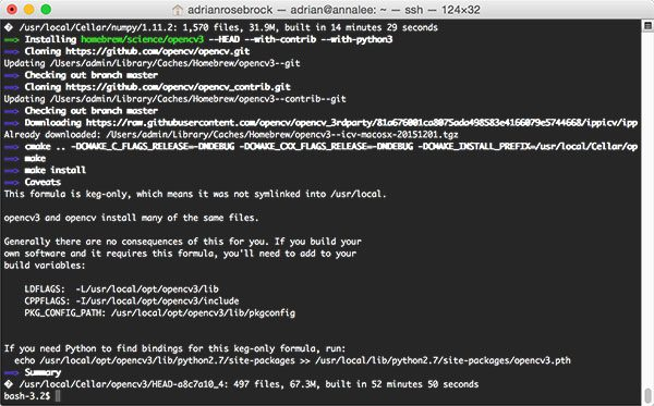 Figure 5: Compiling and installing OpenCV 3 with Python bindings on macOS with Homebrew.