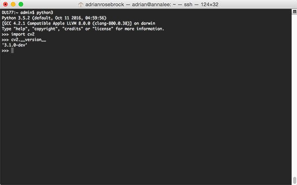 Figure 6: Confirming that OpenCV 3 with Python 3 bindings have been successfully installed on my macOS system via Homebrew.