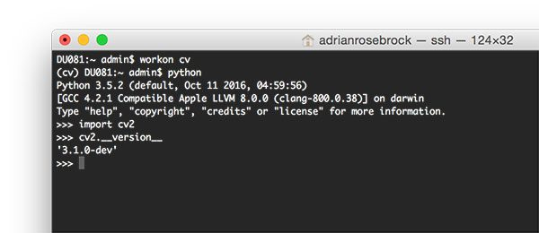 Figure 9: Ensuring that I have successfully installed my OpenCV 3 + Python 3.5 bindings on macOS.
