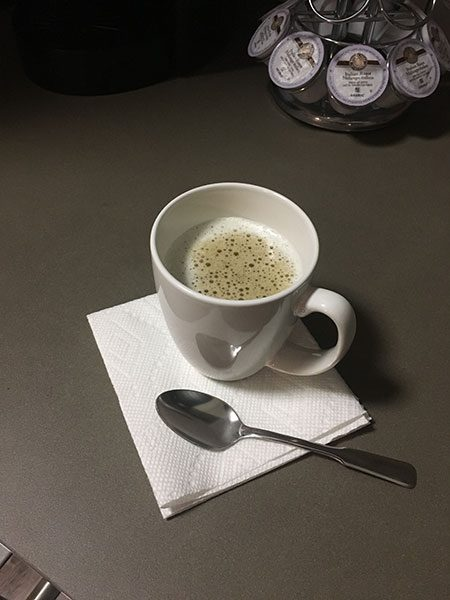 Figure 2: Every day starts off with a strong cup of coffee with a splash of heavy cream. This is my only caffeine intake for the entire day.