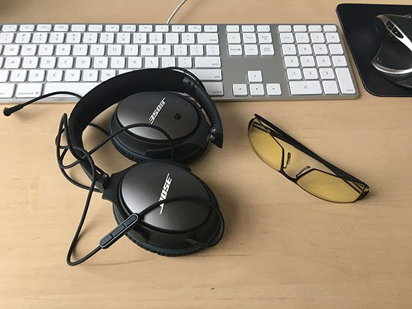 Figure 8: Noise canceling headphones and strain reducing glasses help me reach (and sustain) flow state.