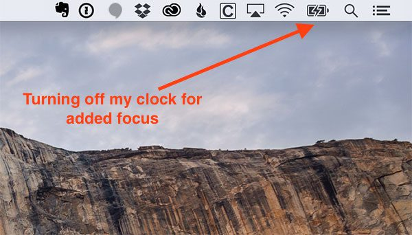 Figure 9: No distractions include turning off the clock on my desktop.