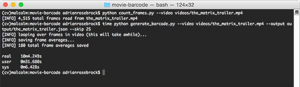 Figure 3: Determining the number of frames in a movie followed by generating the video barcode for The Matrix trailer.
