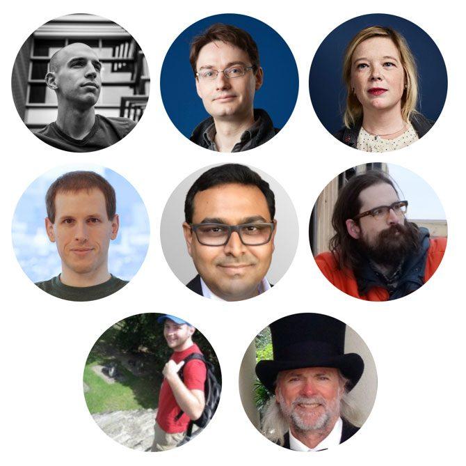 PyImageConf 2018 speakers include Adrian Rosebrock, François Chollet, Katherine Scott, Davis King, Satya Mallick, Joseph Howse, Adam Geitgey, Jeff Bass, and more.